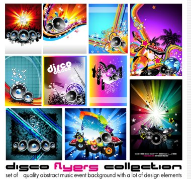 10 Abstract Music Background for Discoteque Flyer set 3