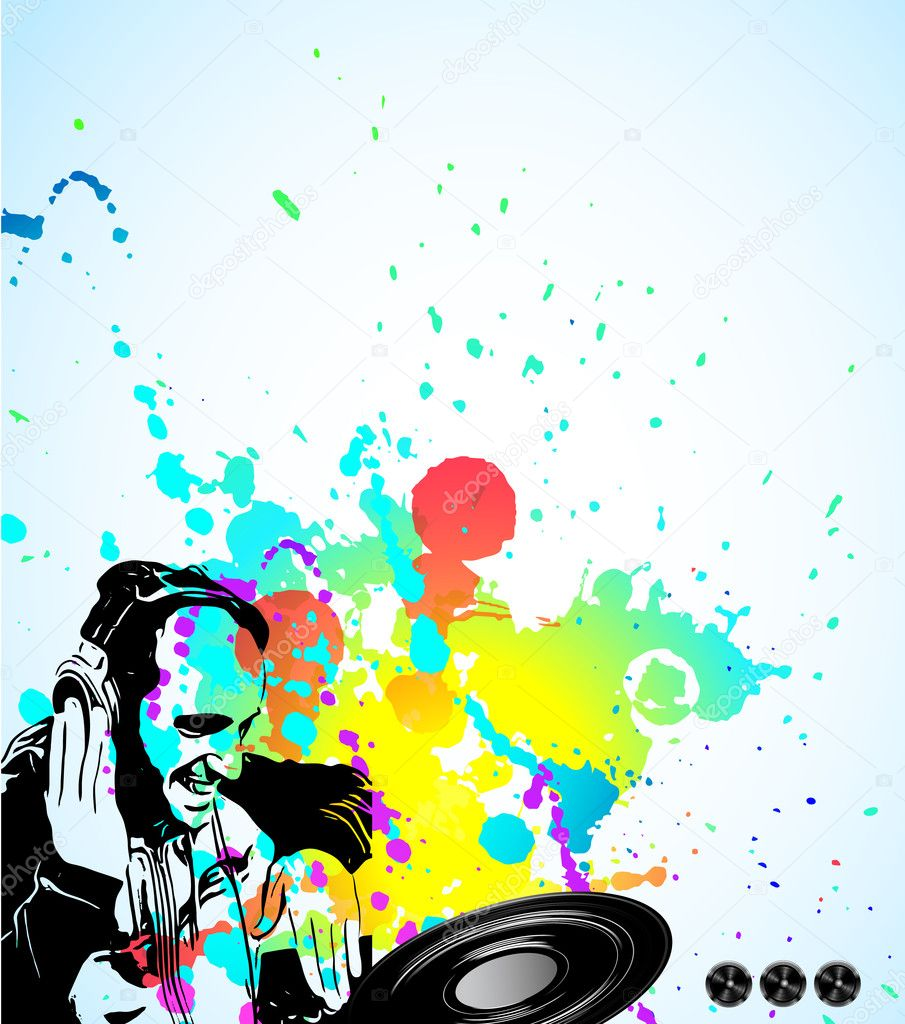 Music Event Background With Dj Shape And Rainbow Colours Stock