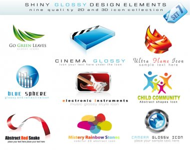 2D and 3D Design Element Collection with colorful Shiny Icons