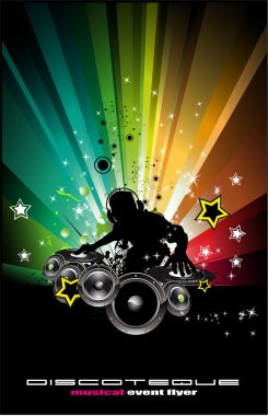 Musci Flyer Background with DJ Silhouette