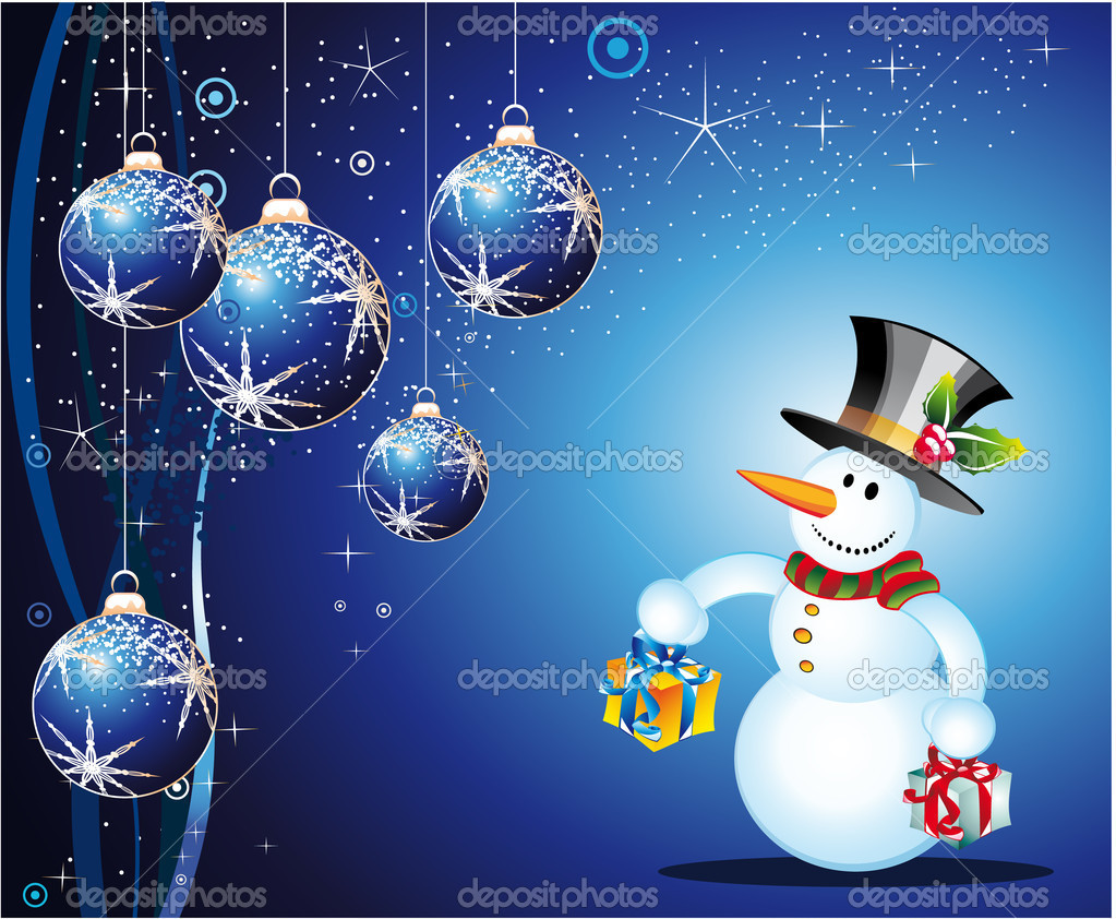 schneemann weihnachtskarte stockvektor davidarts 6862817. Black Bedroom Furniture Sets. Home Design Ideas