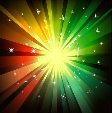 Explosion of red and green raylights