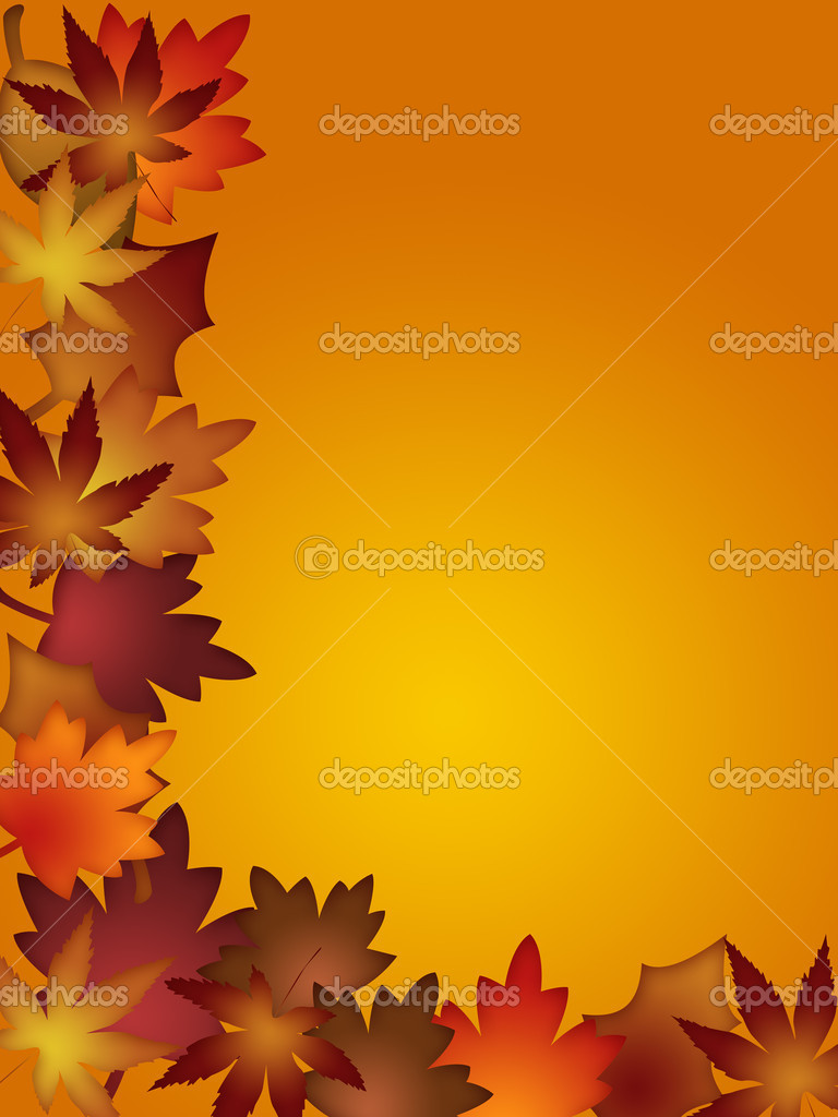 Colorful Fall Leaves Border