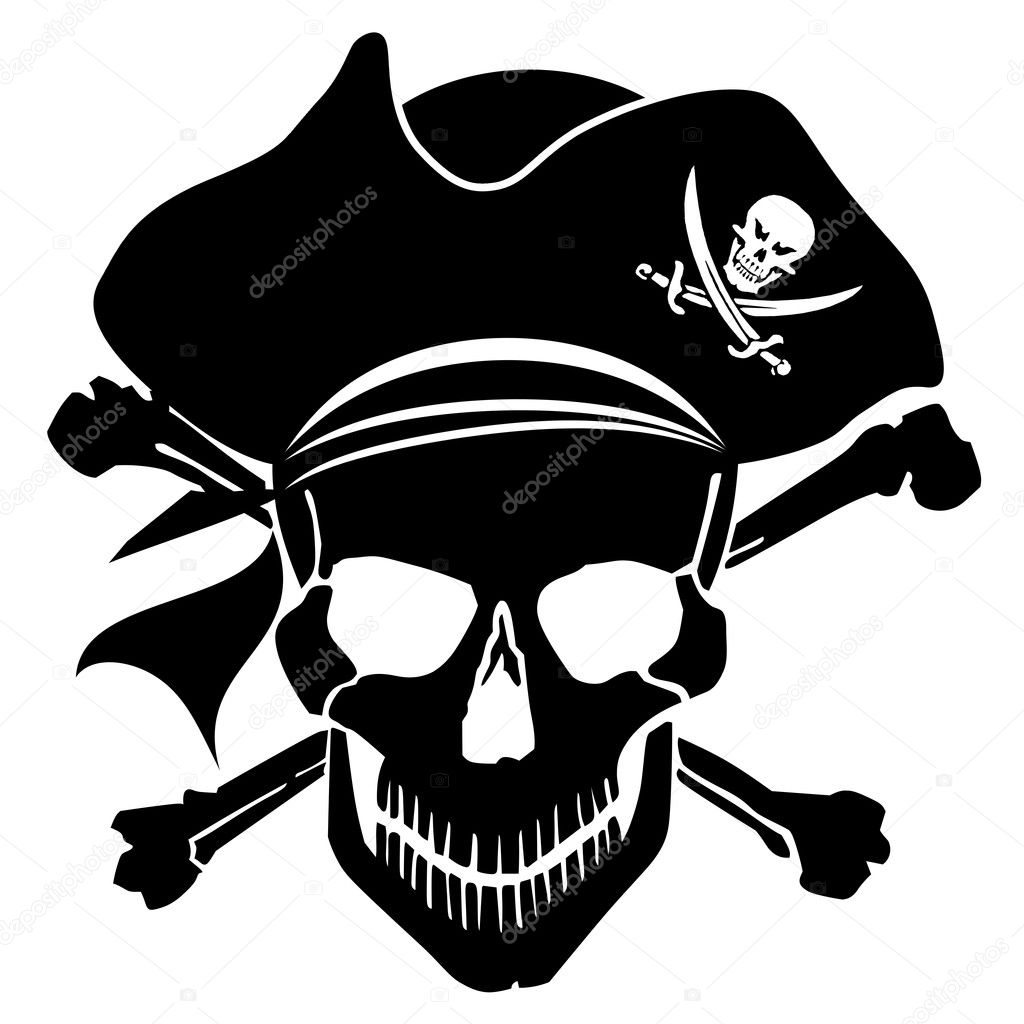 pirate skull captain with hat and cross bones u2014 stock photo