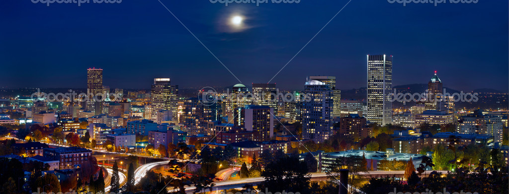 Moon Over Portland Oregon City Skyline at Blue Hour