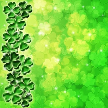 Lucky Irish Four Leaf Clover Shamrock Sparkles on Blurred Background Illustration stock vector