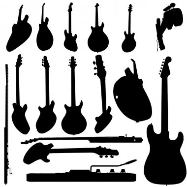 Electric guitar silhouette set