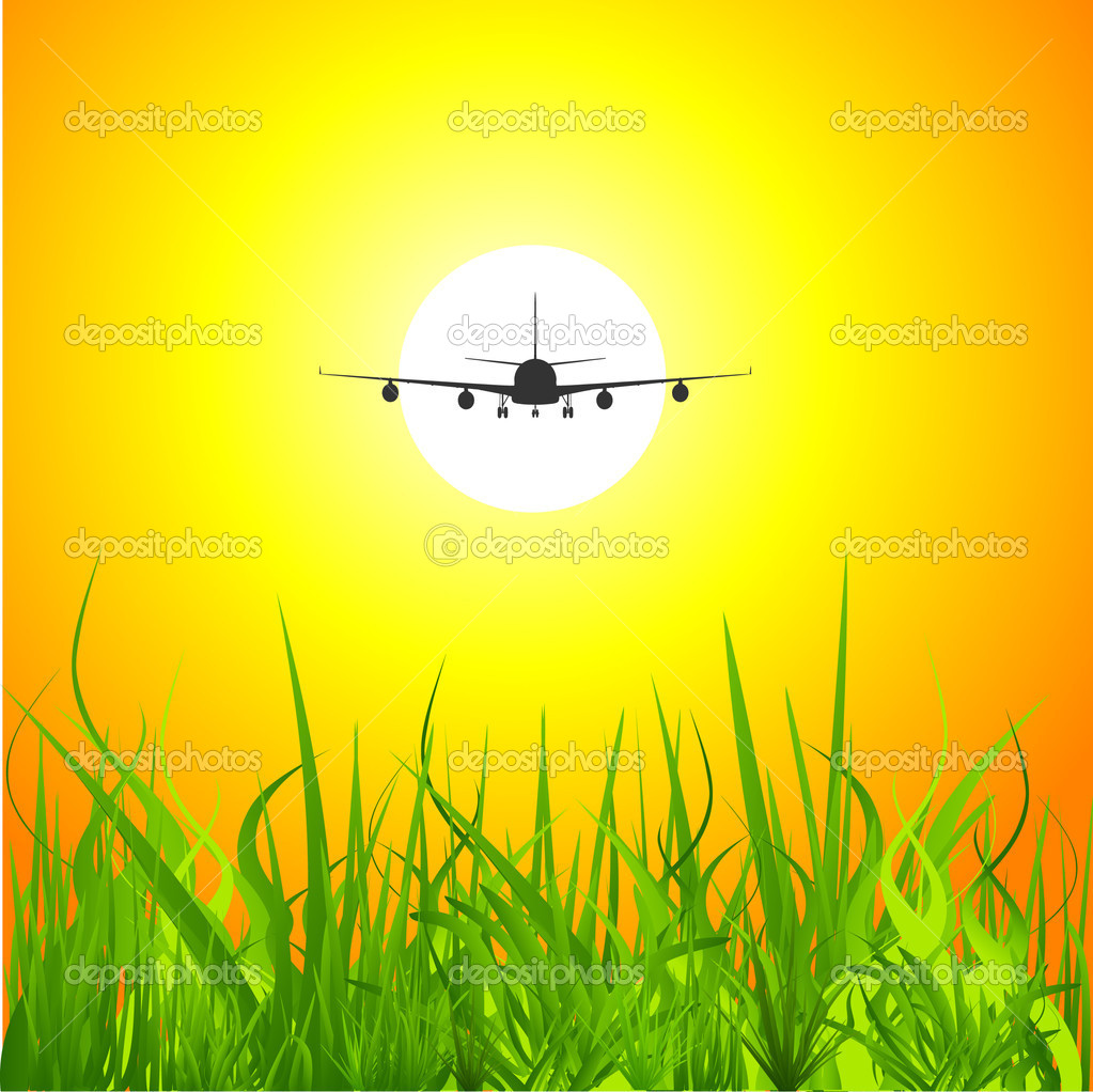 Airplane sunset background