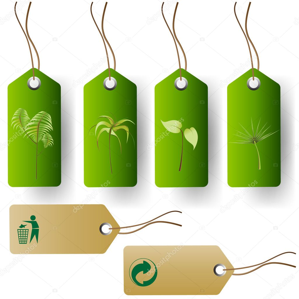 Green eco product tags