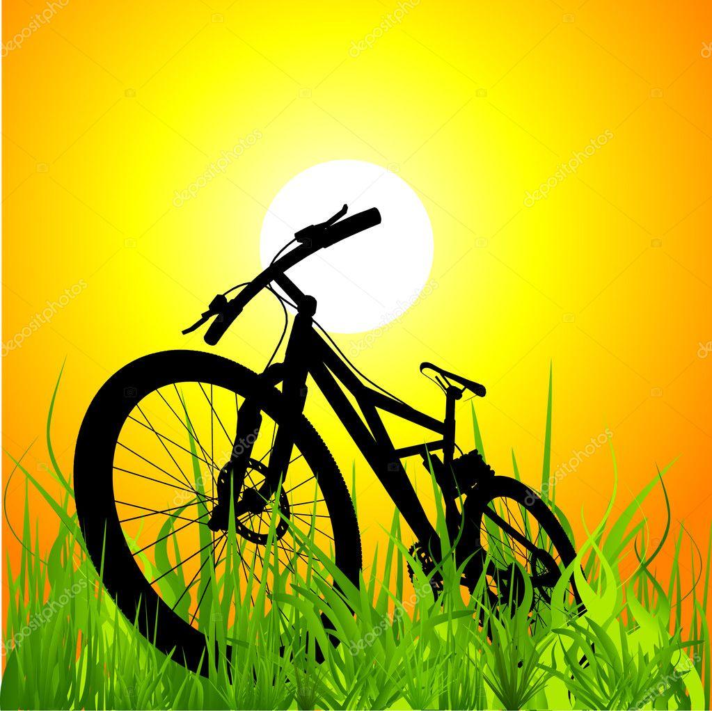 Mountain bike on sunset
