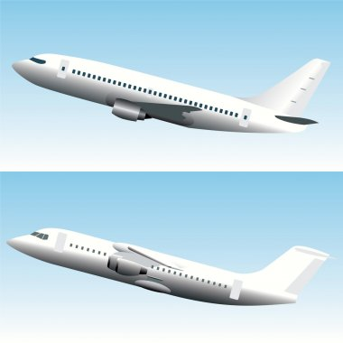 Blank Commercial Airplanes Set stock vector