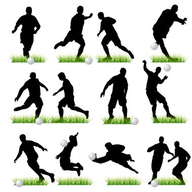 12 Football Players Silhouettes Set