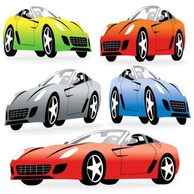 Cartoon Style Racing Cars Set