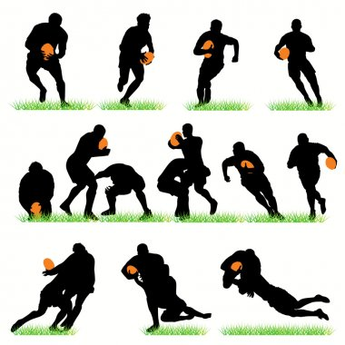 14 Rugby Players Silhouettes Set