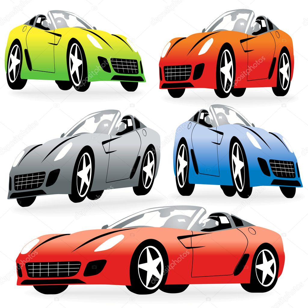 cartoon style racing cars set stock vector kaludov. Black Bedroom Furniture Sets. Home Design Ideas