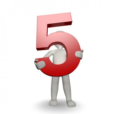3D Human charcter holding number five, 3d render, isolated on white stock vector