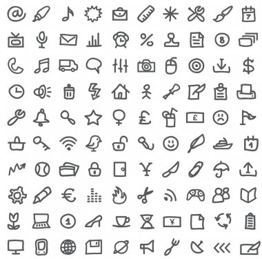 Vector collection of various icons isolated on white clip art vector