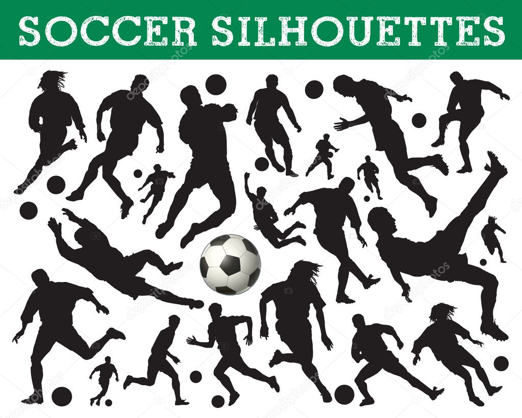 soccer silhouettes stock vector 6826397