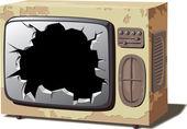 régi törött tv-készülék.