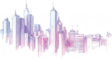 The hand-drown city skyline in a pastel shades. stock vector