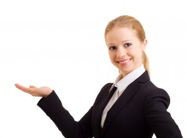 Business woman holding and presenting a product