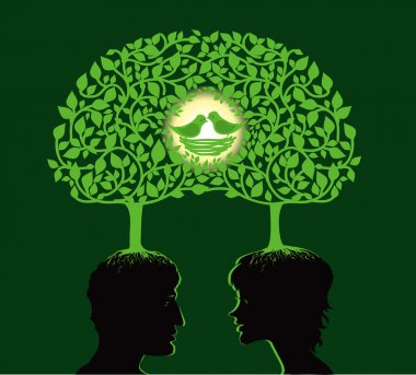 Vector illustration of two dreaming about family stock vector