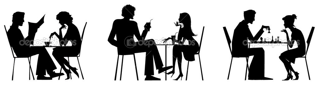 Silhouette of a couple at restaurant royalty free stock photos image - Couple Silhouettes Near Table Stock Vector 169 V G 6830038