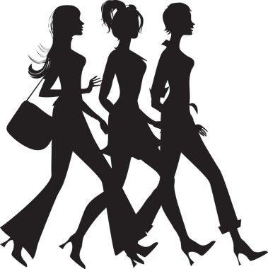 Silhouette of three shopping girls