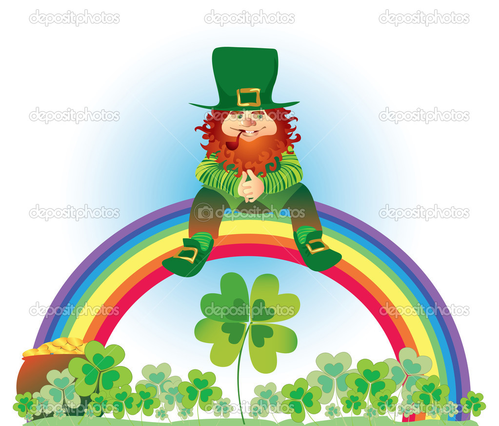 leprechaun on rainbow u2014 stock vector v g 6880342