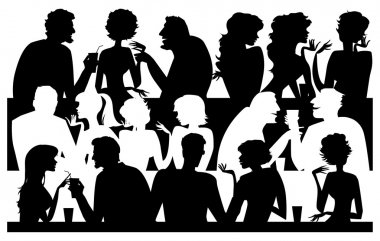silhouettes at cafe