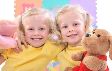 Blonde twins girls
