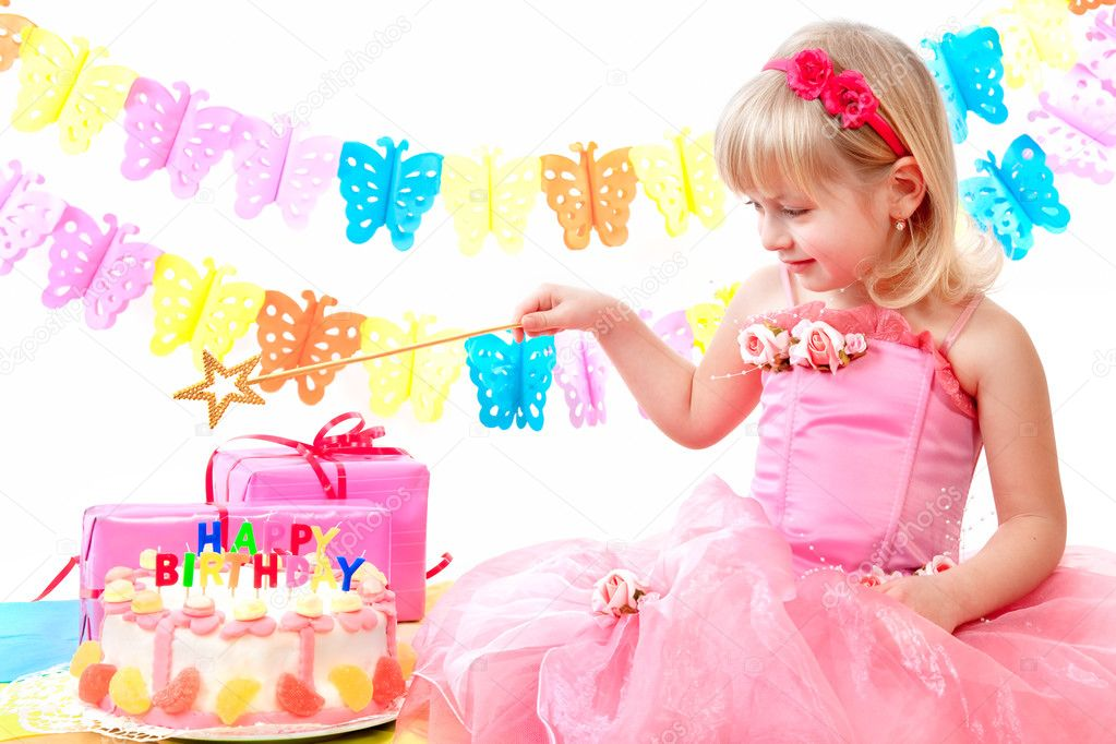 Little Princess And Her Birthday Cake Stock Photo