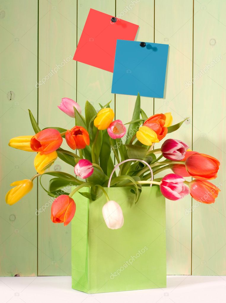 Fresh tulips in shopping bag