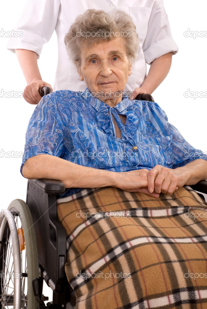 Young petite light wheelchair for elderly lady