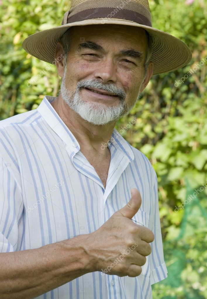 Senior showing thumb up