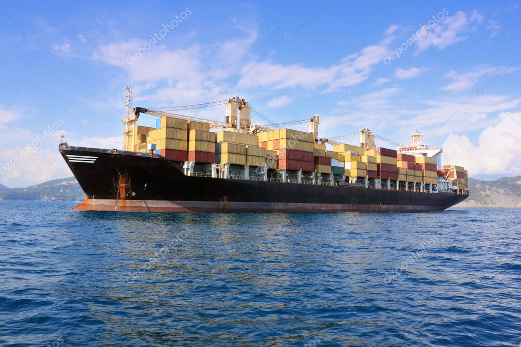 Container ship in sea