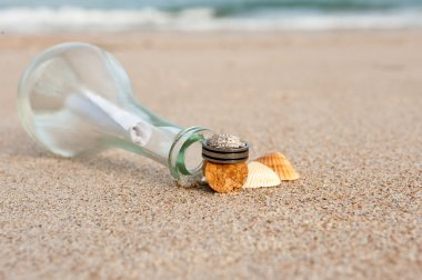 Wedding rings on the beach
