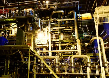 Steam and water piping on power plant