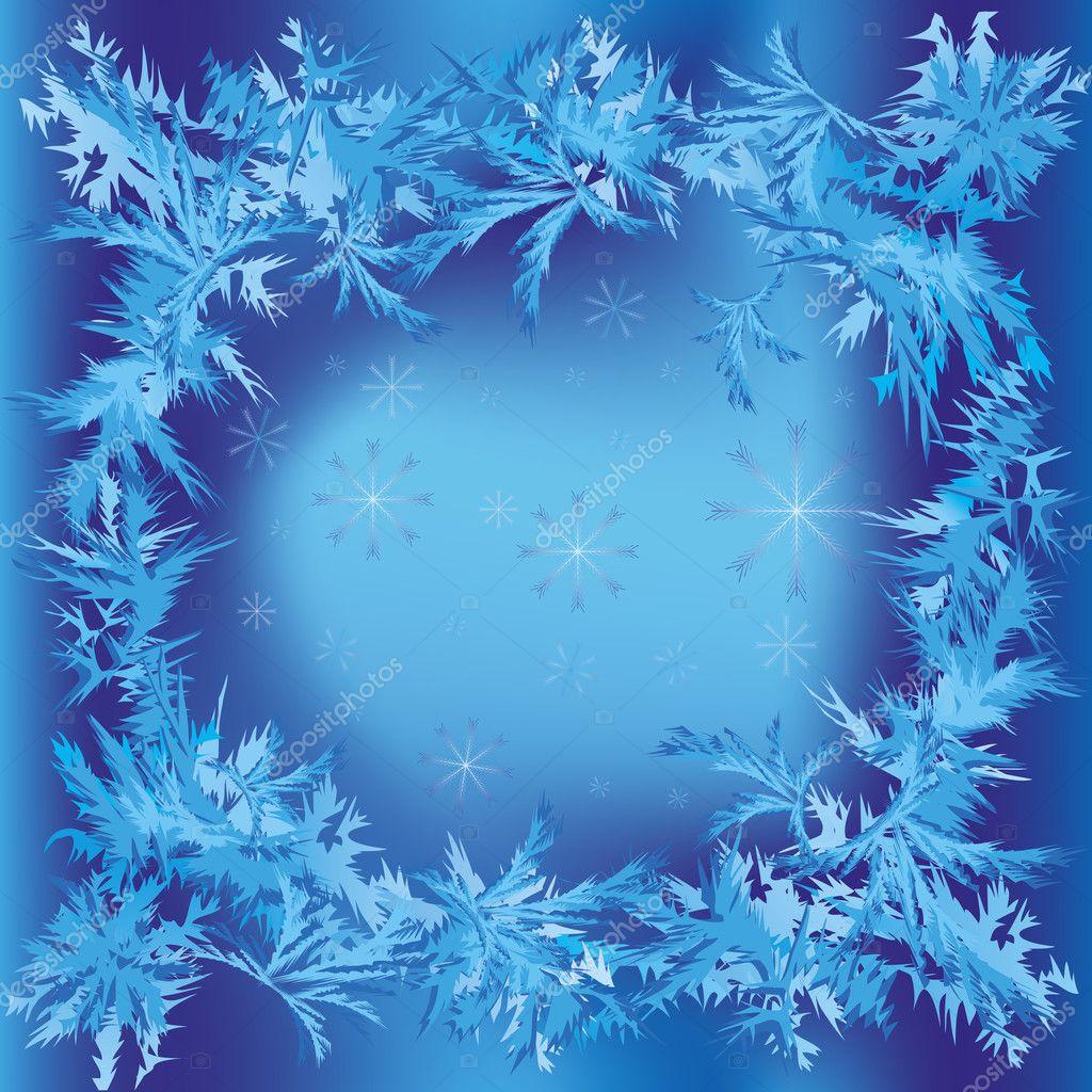 marco de Navidad con copos de nieve y helada patrón — Vector de ...