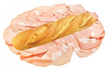 Long sandwich with ham