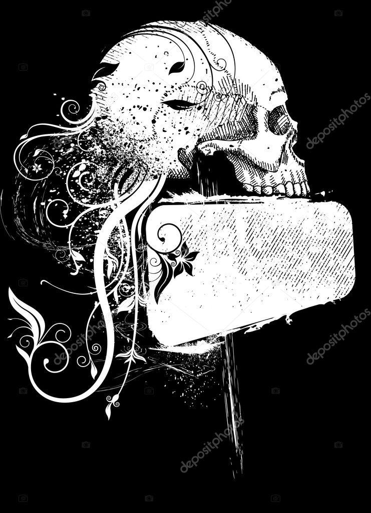 cráneo y marco — Archivo Imágenes Vectoriales © Rocket400 #7515312