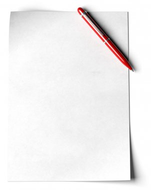 Blank page with a red ball point pen in the angle of the page over white background stock vector