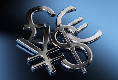 Dollar, yen or yuan, pound, euro signs