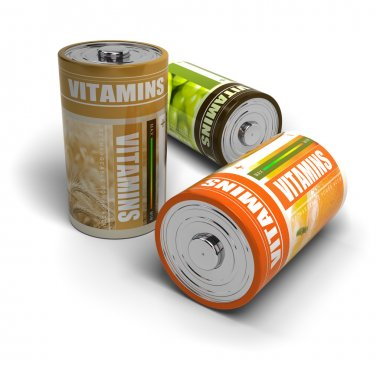 Well-beeing - vitamins and energy isolated over white