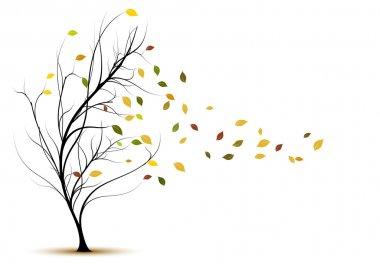 Decorative tree silhouette in autumn
