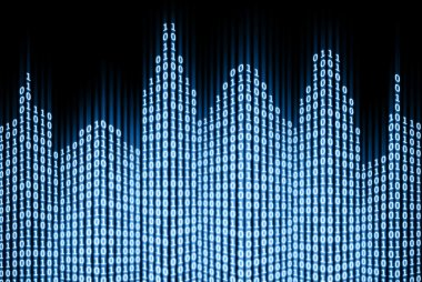 Binary digital city, abstract 3d tech background