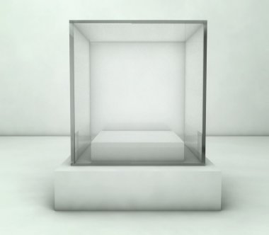 Empty glass showcase, 3d exhibition space