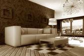 moderní interiér pokoje s hezkým nábytkem uvnitř.