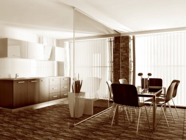 Modern interior room with nice furniture inside.