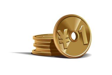 Yen coins vector illustration